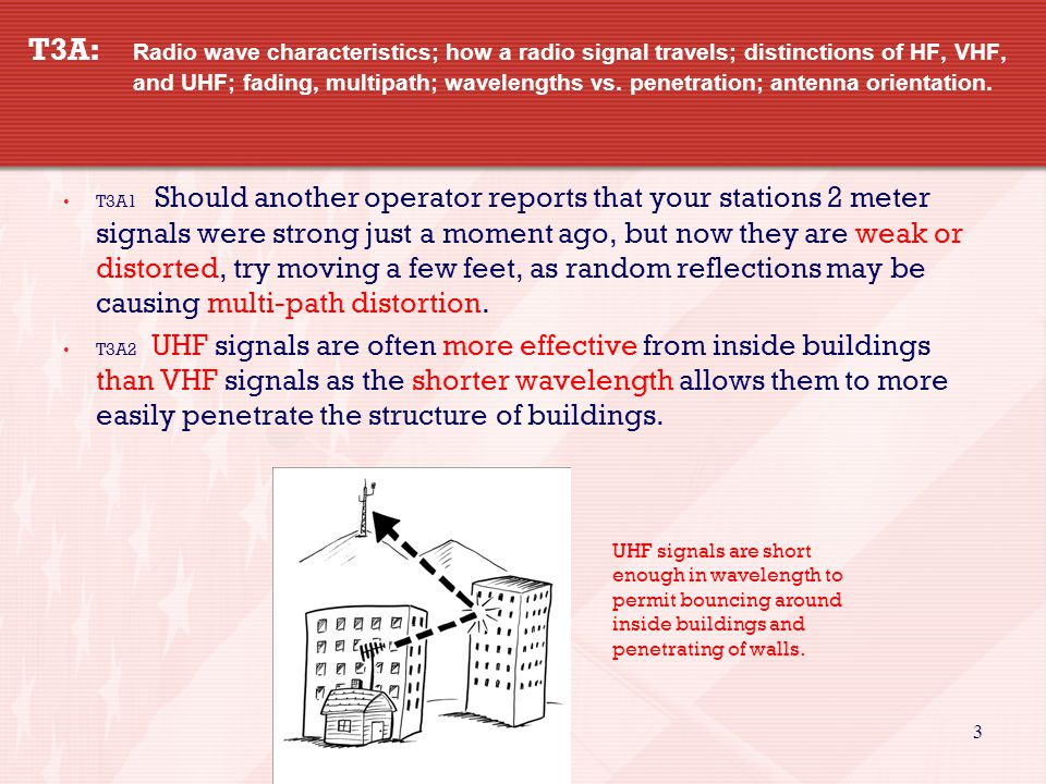 3 T3A: Radio wave characteristics; how a radio signal travels; distinctions of HF, VHF, and UHF; fading, multipath; wavelengths vs.