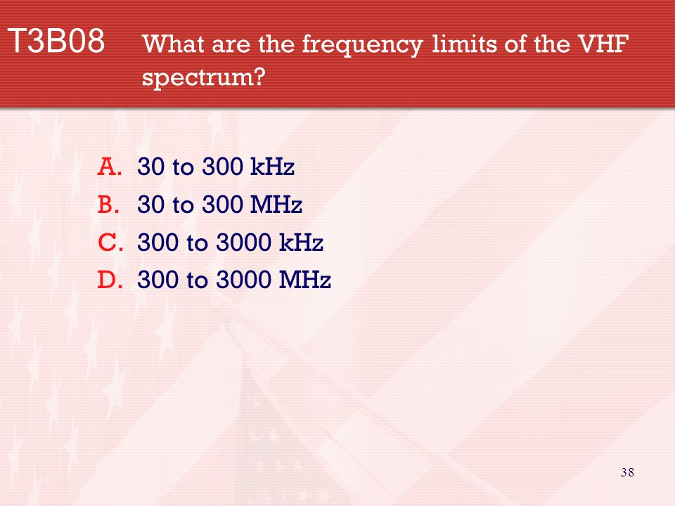 38 T3B08 What are the frequency limits of the VHF spectrum.
