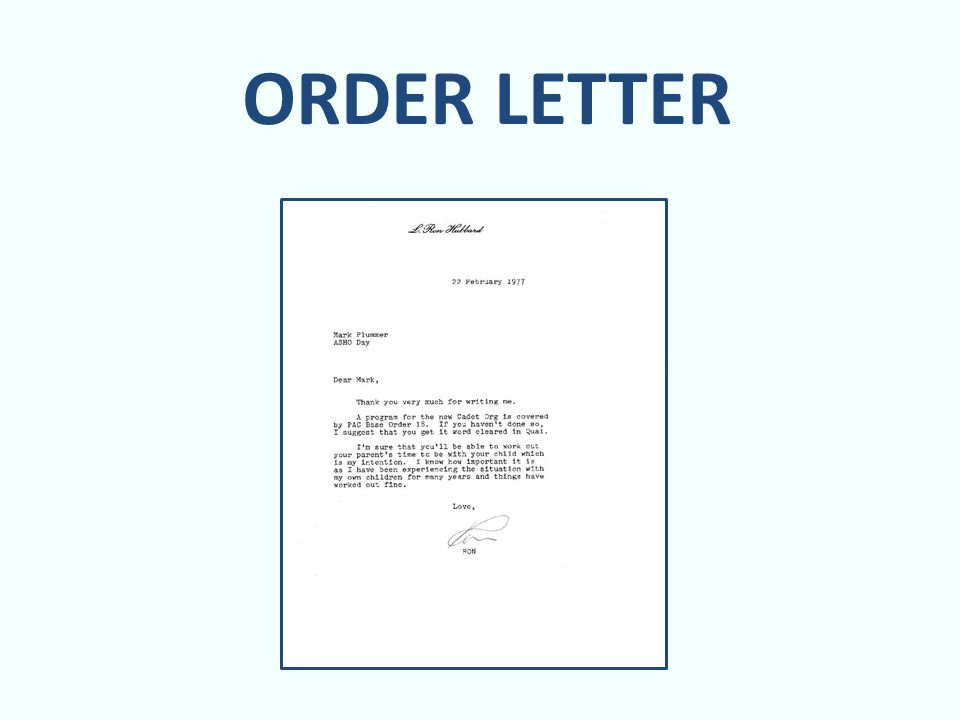 order letter an order is an expense for the person placing the