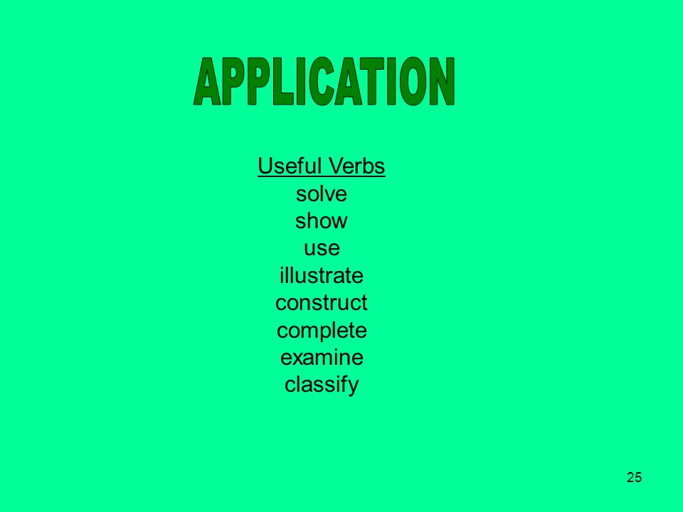 25 Useful Verbs solve show use illustrate construct complete examine classify