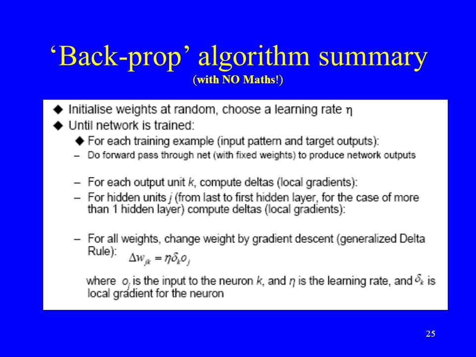 'Back-prop' algorithm summary (with NO Maths!) 25