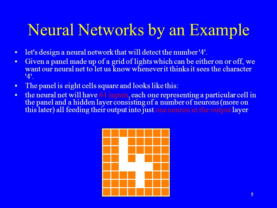 Neural Networks by an Example let s design a neural network that will detect the number 4 .