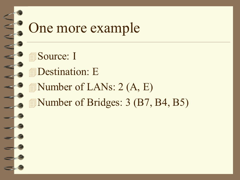 One more example 4 Source: I 4 Destination: E 4 Number of LANs: 2 (A, E) 4 Number of Bridges: 3 (B7, B4, B5)
