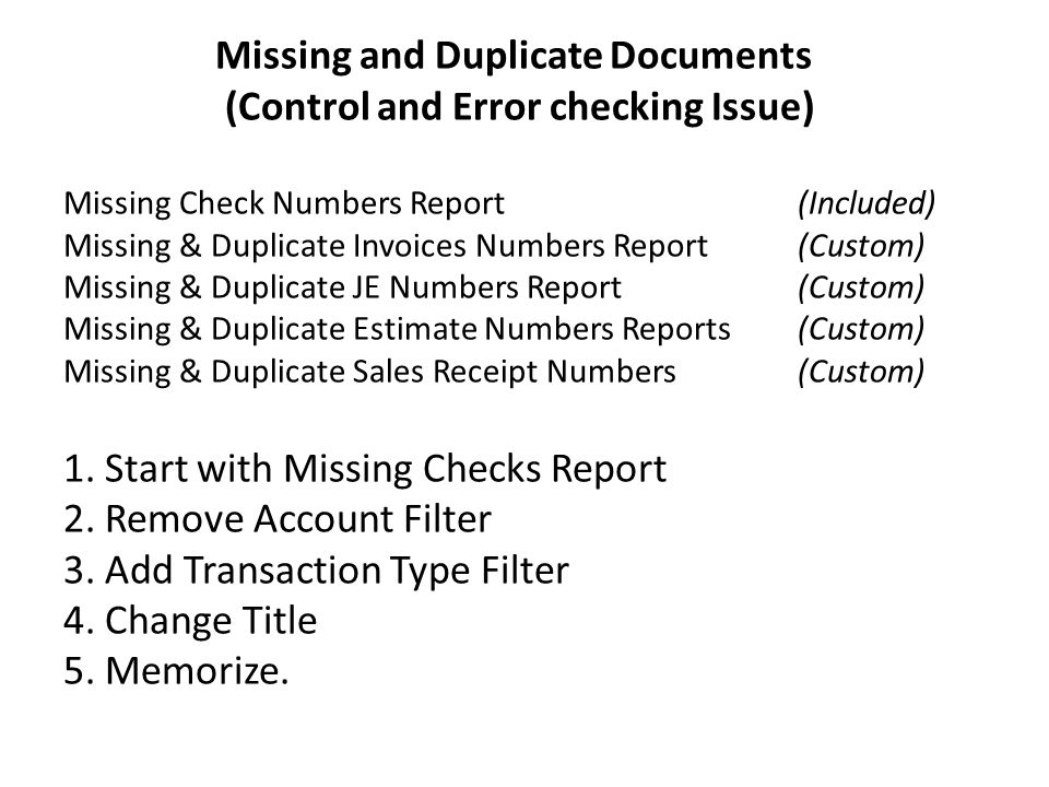 QuickBooks Tricks  Missing and Duplicate Documents (Control