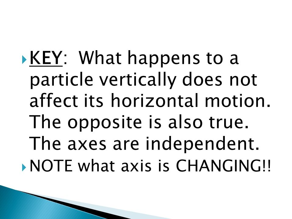  KEY: What happens to a particle vertically does not affect its horizontal motion.