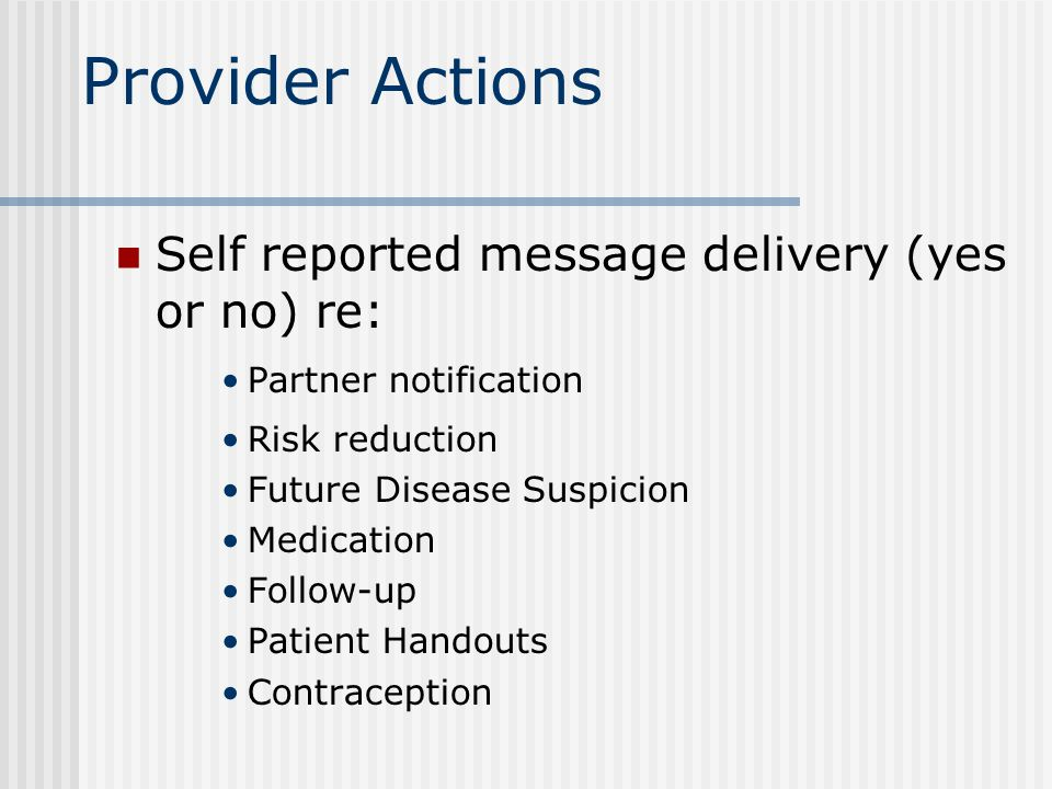 Provider Actions Self reported message delivery (yes or no) re: Partner notification Risk reduction Future Disease Suspicion Medication Follow-up Patient Handouts Contraception