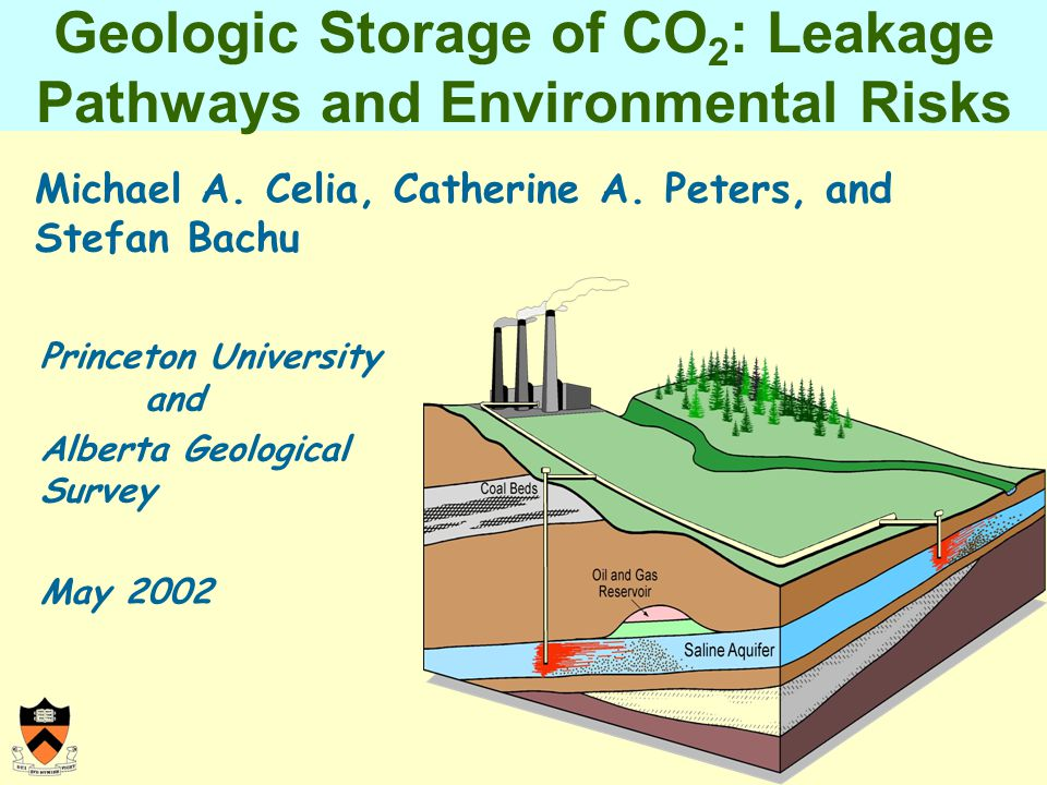 Geologic Storage of CO 2 : Leakage Pathways and Environmental Risks Michael A.
