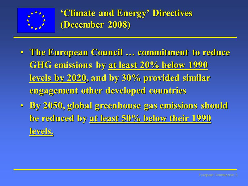 European Commission: 6 'Climate and Energy' Directives (December 2008) The European Council … commitment to reduce GHG emissions by at least 20% below 1990 levels by 2020, and by 30% provided similar engagement other developed countriesThe European Council … commitment to reduce GHG emissions by at least 20% below 1990 levels by 2020, and by 30% provided similar engagement other developed countries By 2050, global greenhouse gas emissions should be reduced by at least 50% below their 1990 levels.By 2050, global greenhouse gas emissions should be reduced by at least 50% below their 1990 levels.