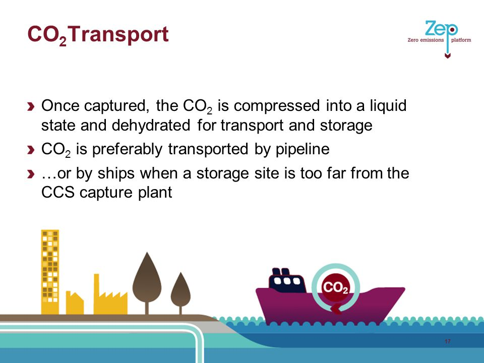 CO 2 Transport Once captured, the CO 2 is compressed into a liquid state and dehydrated for transport and storage CO 2 is preferably transported by pipeline …or by ships when a storage site is too far from the CCS capture plant 17