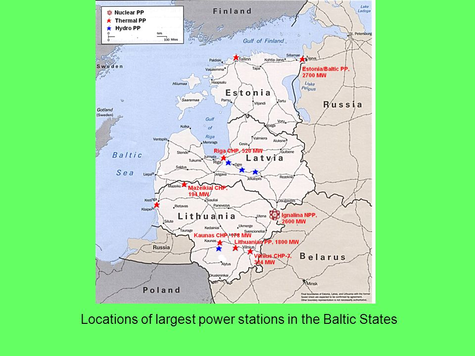 Locations of largest power stations in the Baltic States