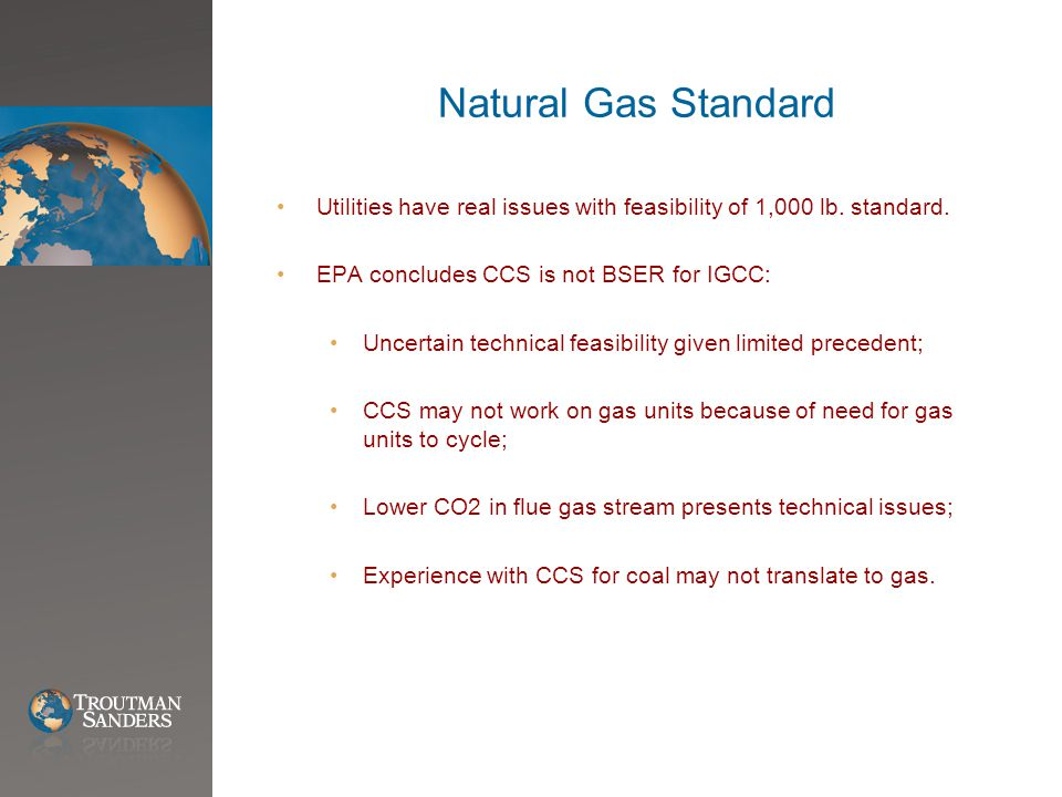 Natural Gas Standard Utilities have real issues with feasibility of 1,000 lb.