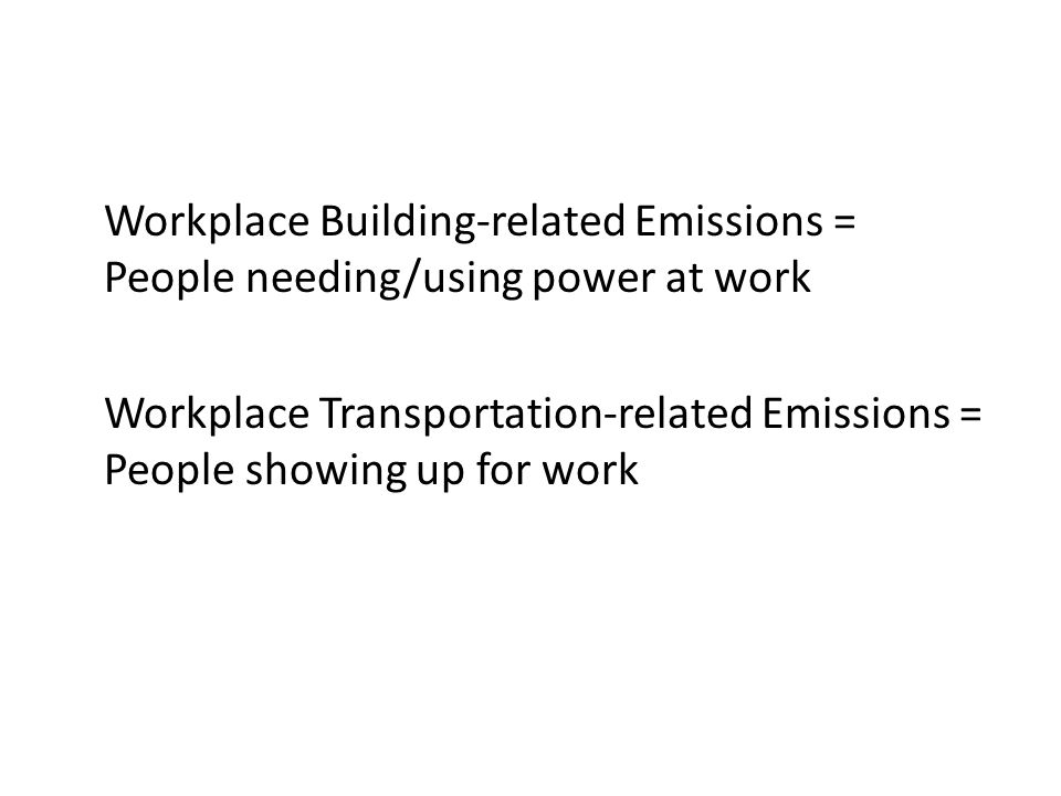Workplace Building-related Emissions = People needing/using power at work Workplace Transportation-related Emissions = People showing up for work