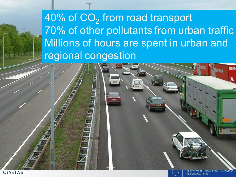 4 40% of CO 2 from road transport 70% of other pollutants from urban traffic Millions of hours are spent in urban and regional congestion