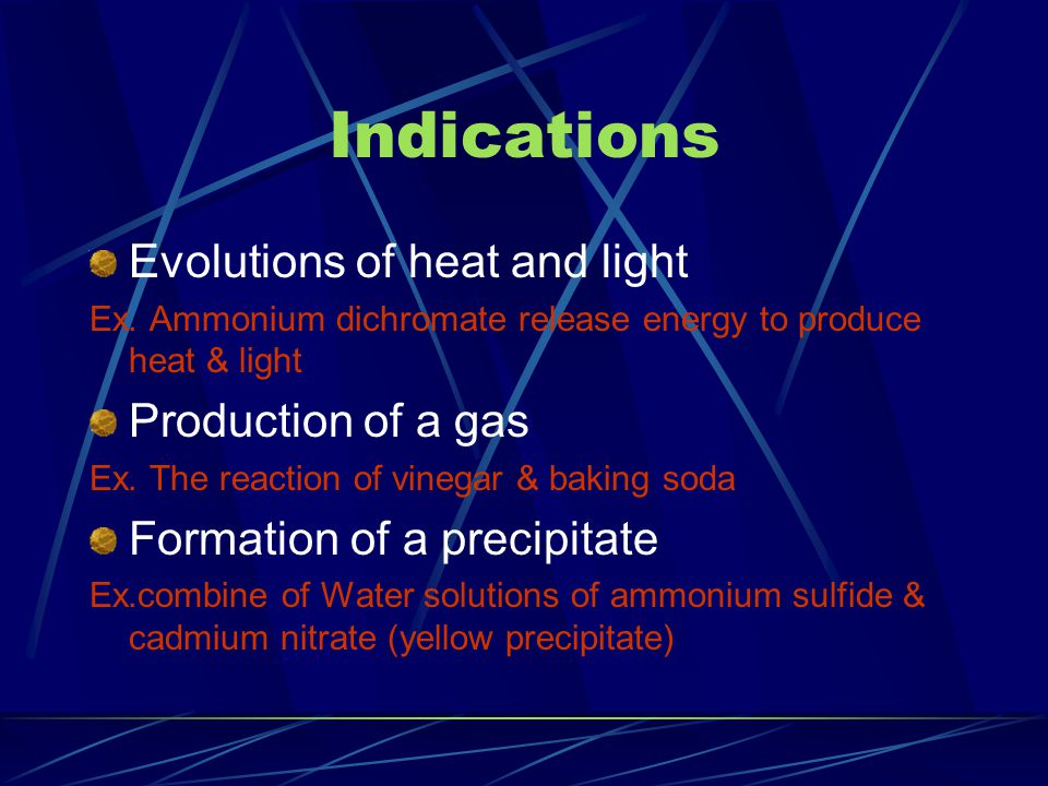 Indications Evolutions of heat and light Ex.