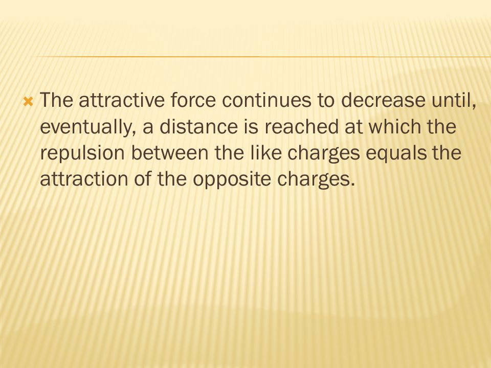  The attractive force continues to decrease until, eventually, a distance is reached at which the repulsion between the like charges equals the attraction of the opposite charges.
