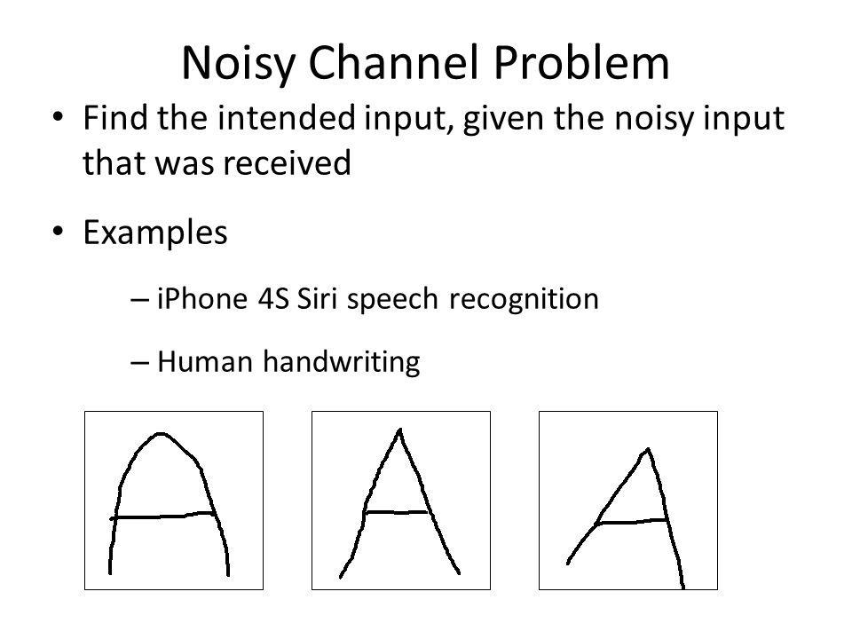 Noisy Channel Problem Find the intended input, given the noisy input that was received Examples – iPhone 4S Siri speech recognition – Human handwriting