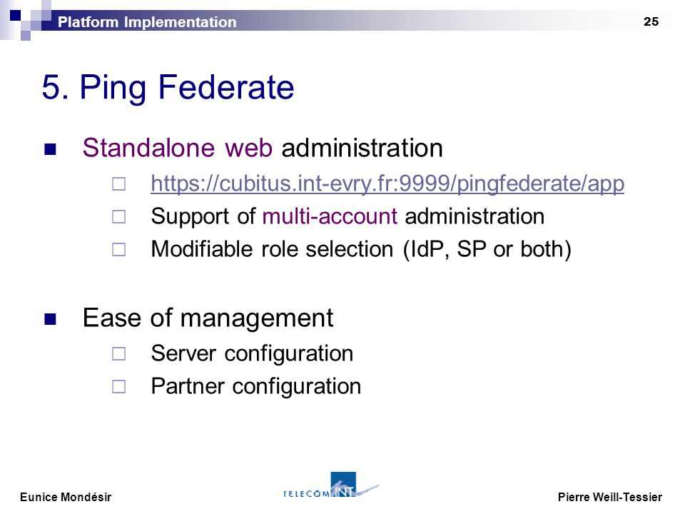 Eunice Mondésir Pierre Weill-Tessier 1 Federated Identity with Ping