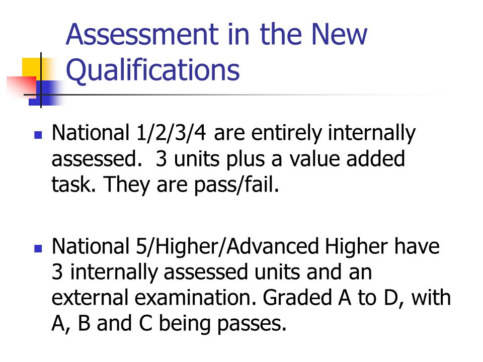 Assessment in the New Qualifications National 1/2/3/4 are entirely internally assessed.