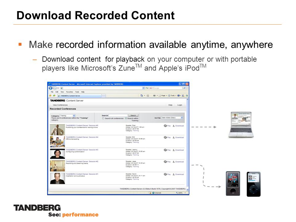 Download Recorded Content  Make recorded information available anytime, anywhere –Download content for playback on your computer or with portable players like Microsoft's Zune TM and Apple's iPod TM