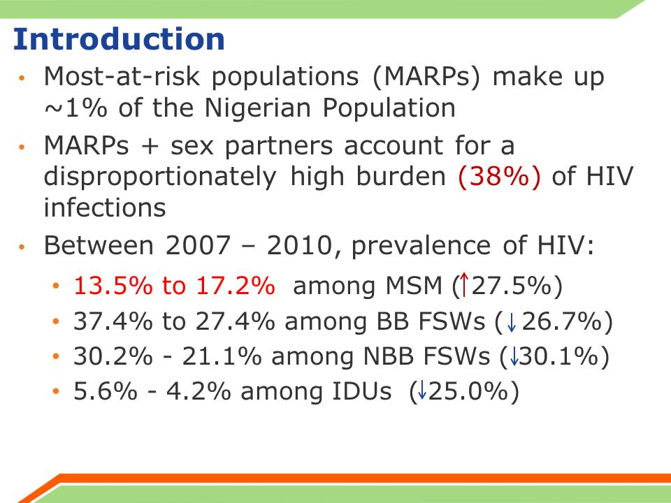 Introduction Most-at-risk populations (MARPs) make up ~1% of the Nigerian Population MARPs + sex partners account for a disproportionately high burden (38%) of HIV infections Between 2007 – 2010, prevalence of HIV: 13.5% to 17.2% among MSM ( 27.5%) 37.4% to 27.4% among BB FSWs ( 26.7%) 30.2% % among NBB FSWs ( 30.1%) 5.6% - 4.2% among IDUs ( 25.0%)
