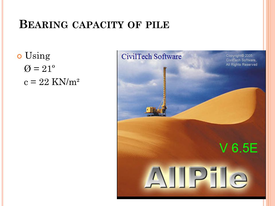 B EARING CAPACITY OF PILE Using Ø = 21º c = 22 KN/m²