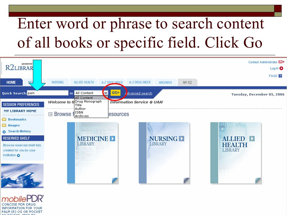 Enter word or phrase to search content of all books or specific field. Click Go
