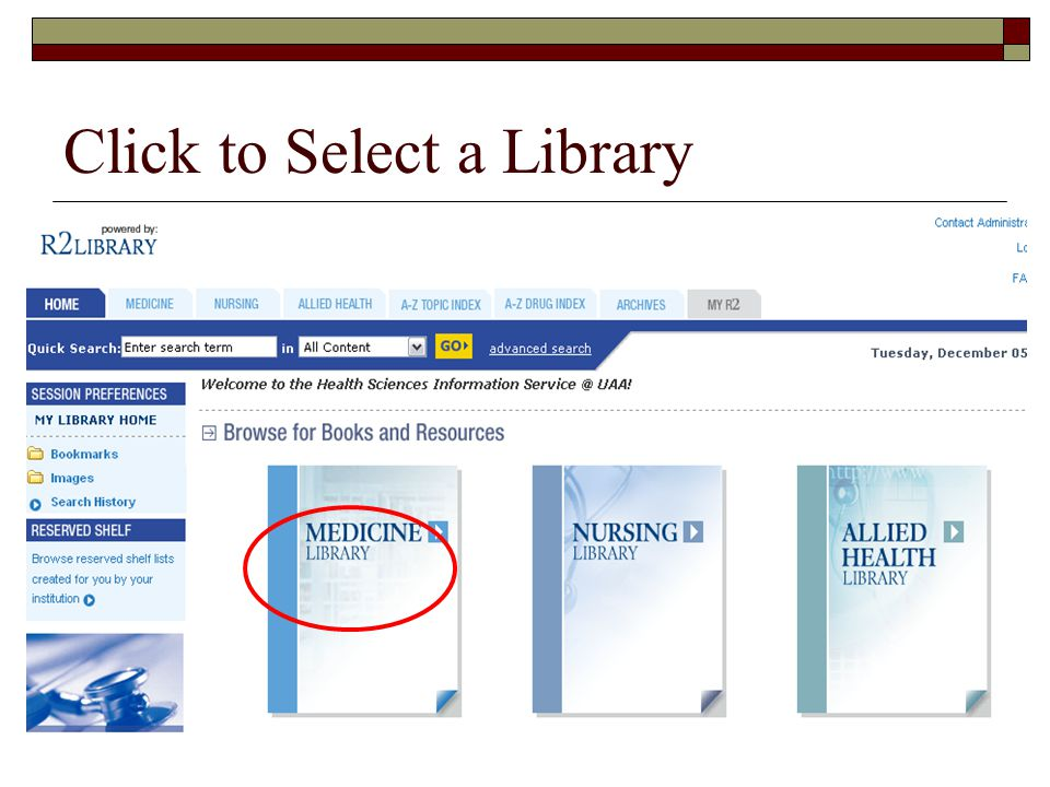 Click to Select a Library