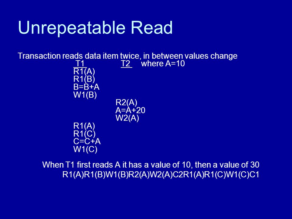 Unrepeatable Read Transaction reads data item twice, in between values change T1 T2 where A=10 R1(A) R1(B) B=B+A W1(B) R2(A) A=A+20 W2(A) R1(A) R1(C) C=C+A W1(C) When T1 first reads A it has a value of 10, then a value of 30 R1(A)R1(B)W1(B)R2(A)W2(A)C2R1(A)R1(C)W1(C)C1