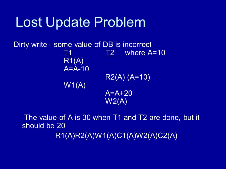 Lost Update Problem Dirty write - some value of DB is incorrect T1 T2 where A=10 R1(A) A=A-10 R2(A) (A=10) W1(A) A=A+20 W2(A) The value of A is 30 when T1 and T2 are done, but it should be 20 R1(A)R2(A)W1(A)C1(A)W2(A)C2(A)