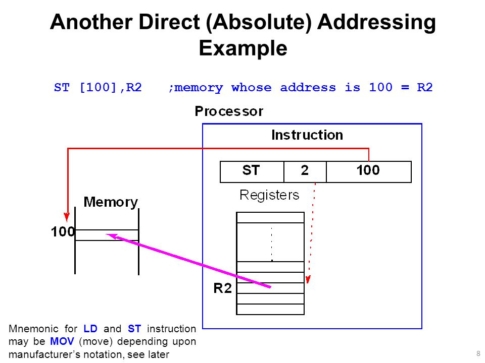 8 Another Direct (Absolute) Addressing Example ST [100],R2 ;memory whose address is 100 = R2 Mnemonic for LD and ST instruction may be MOV (move) depending upon manufacturer's notation, see later