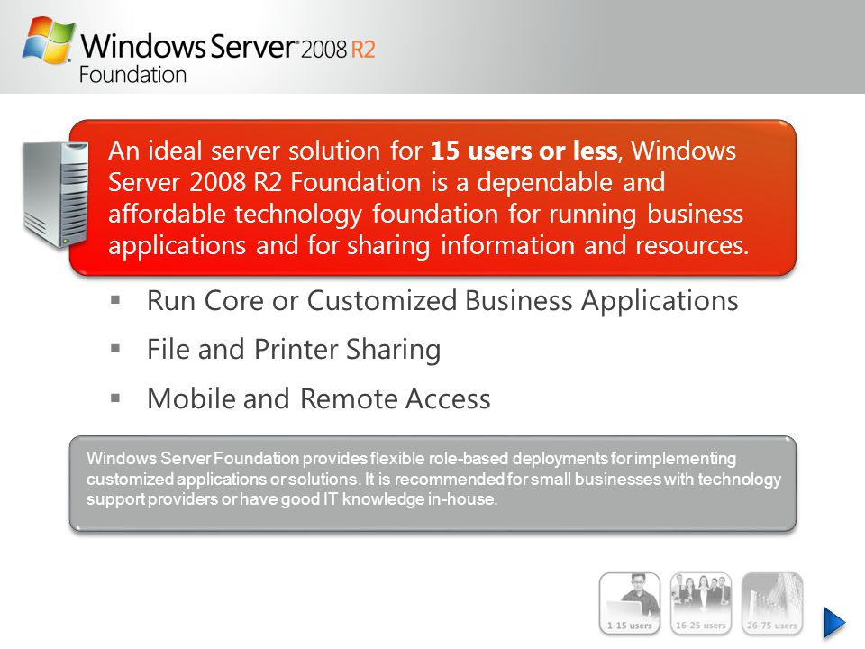 An ideal server solution for 15 users or less, Windows Server 2008 R2 Foundation is a dependable and affordable technology foundation for running business applications and for sharing information and resources.