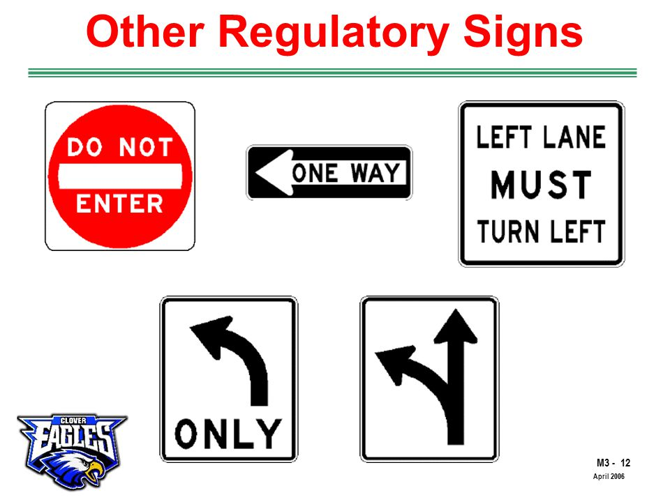M The Road to Skilled Driving April 2006 Other Regulatory Signs