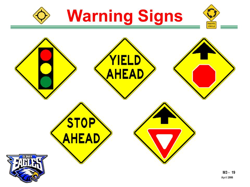 M The Road to Skilled Driving April 2006 Warning Signs