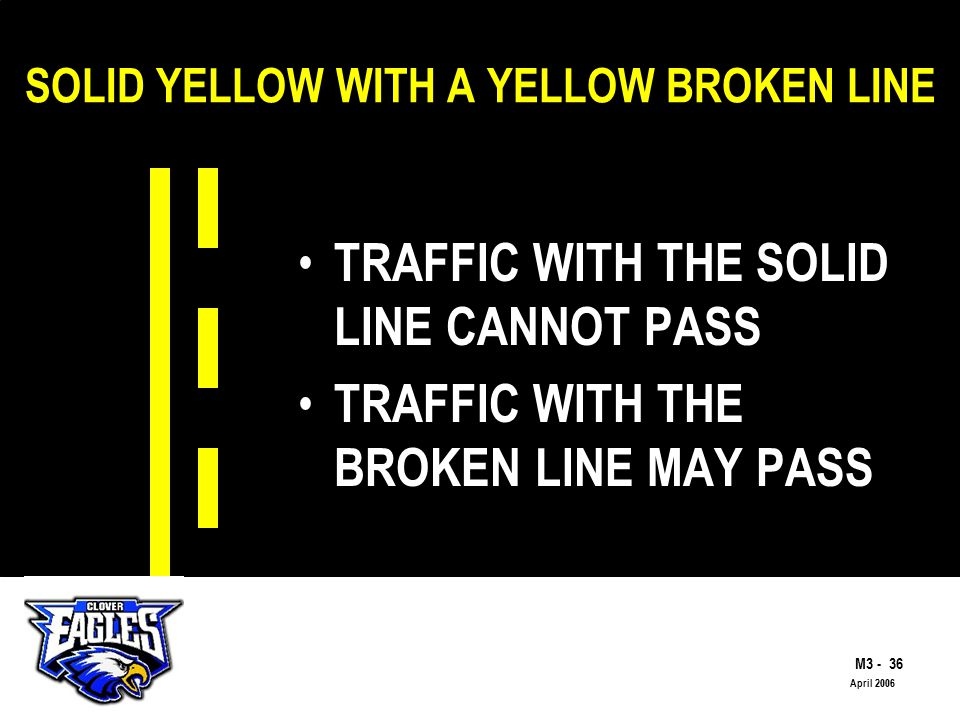 M The Road to Skilled Driving April 2006 SOLID YELLOW WITH A YELLOW BROKEN LINE TRAFFIC WITH THE SOLID LINE CANNOT PASS TRAFFIC WITH THE BROKEN LINE MAY PASS