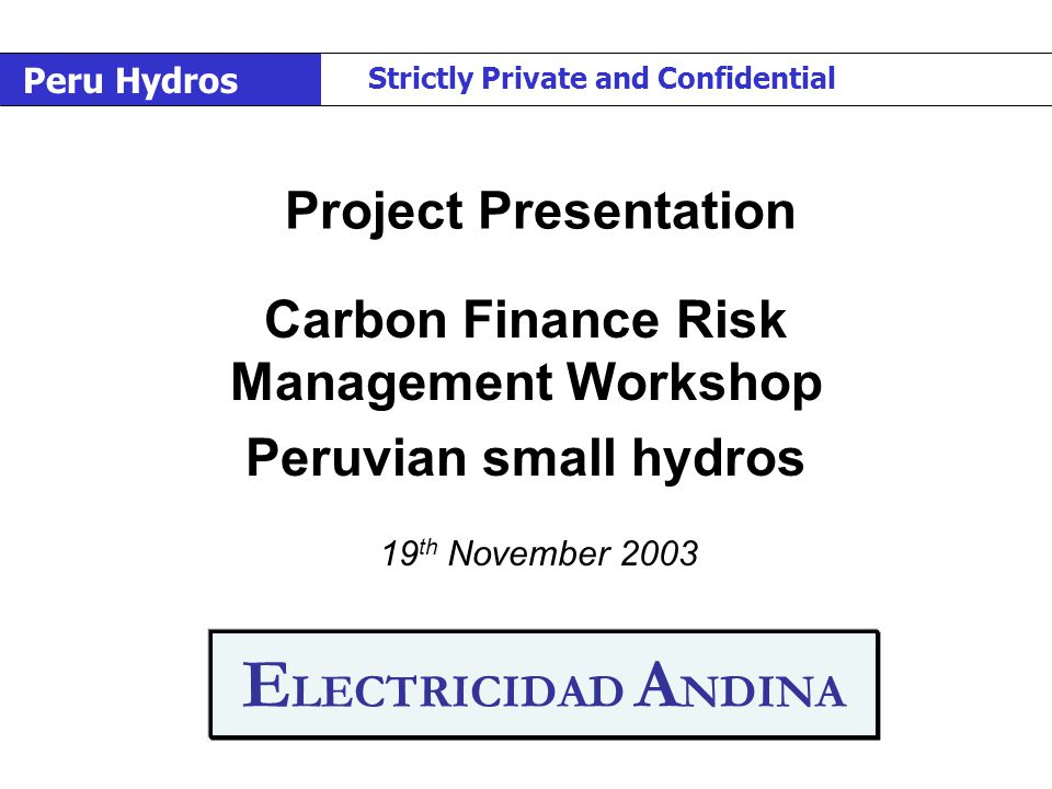 E LECTRICIDAD A NDINA Carbon Finance Risk Management Workshop Peruvian small hydros 19 th November 2003 Project Presentation Peru Hydros Strictly Private and Confidential