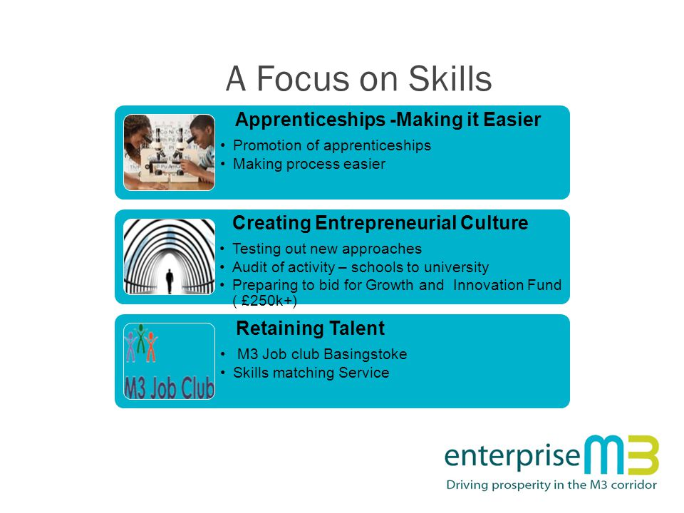 A Focus on Skills Apprenticeships -Making it Easier Promotion of apprenticeships Making process easier Creating Entrepreneurial Culture Testing out new approaches Audit of activity – schools to university Preparing to bid for Growth and Innovation Fund ( £250k+) Retaining Talent M3 Job club Basingstoke Skills matching Service