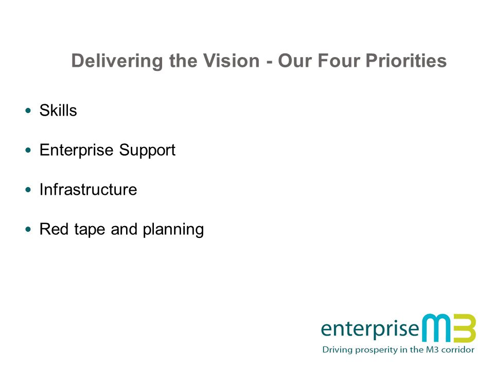 Delivering the Vision - Our Four Priorities Skills Enterprise Support Infrastructure Red tape and planning
