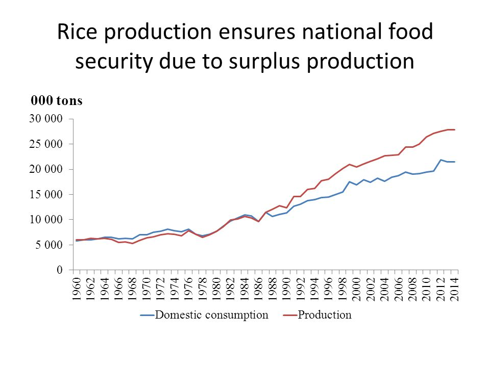 Rice production ensures national food security due to surplus production