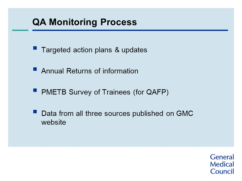 QA Monitoring Process  Targeted action plans & updates  Annual Returns of information  PMETB Survey of Trainees (for QAFP)  Data from all three sources published on GMC website