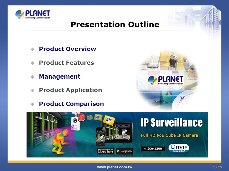 Presentation Outline  Product Overview  Product Features  Management  Product Application  Product Comparison 2 / 25
