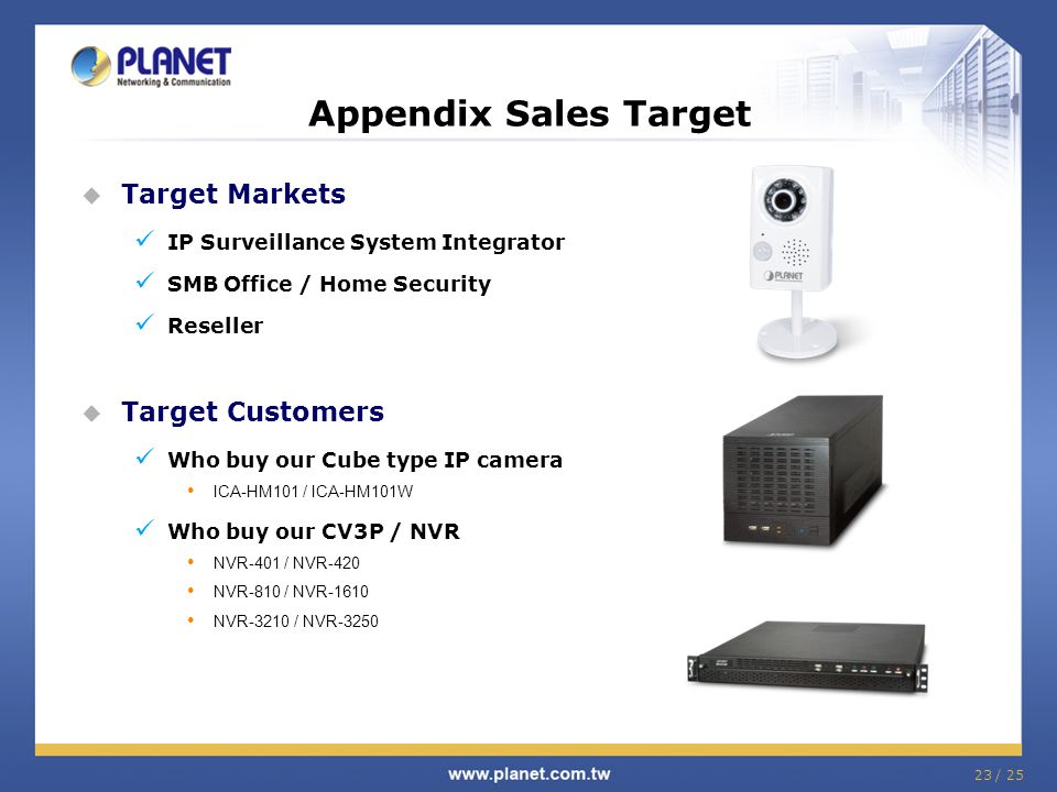  Target Markets IP Surveillance System Integrator SMB Office / Home Security Reseller  Target Customers Who buy our Cube type IP camera ICA-HM101 / ICA-HM101W Who buy our CV3P / NVR NVR-401 / NVR-420 NVR-810 / NVR-1610 NVR-3210 / NVR-3250 Appendix Sales Target 23 / 25
