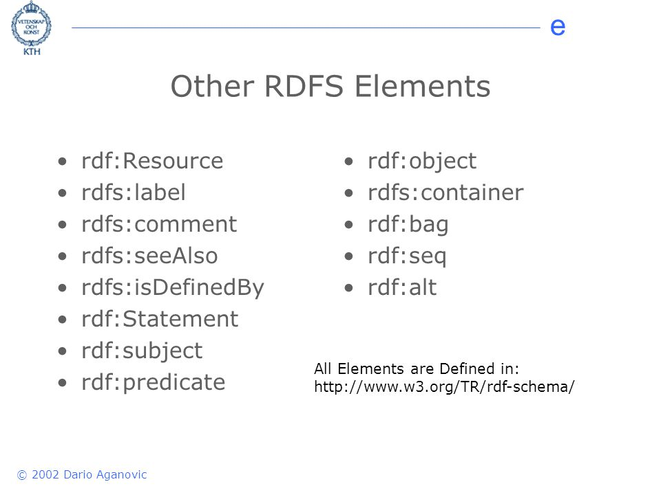 e © 2002 Dario Aganovic Other RDFS Elements rdf:Resource rdfs:label rdfs:comment rdfs:seeAlso rdfs:isDefinedBy rdf:Statement rdf:subject rdf:predicate rdf:object rdfs:container rdf:bag rdf:seq rdf:alt All Elements are Defined in: