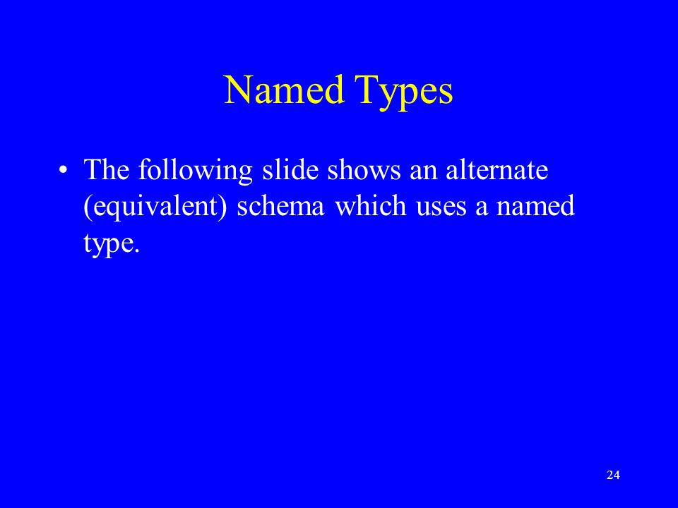 24 Named Types The following slide shows an alternate (equivalent) schema which uses a named type.