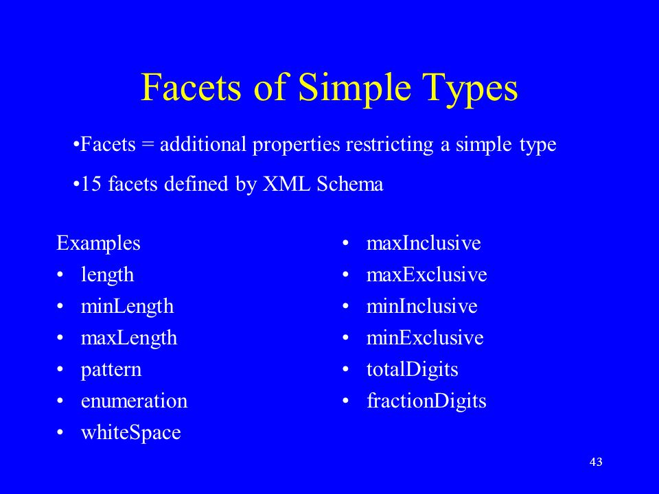 43 Facets of Simple Types Examples length minLength maxLength pattern enumeration whiteSpace maxInclusive maxExclusive minInclusive minExclusive totalDigits fractionDigits Facets = additional properties restricting a simple type 15 facets defined by XML Schema