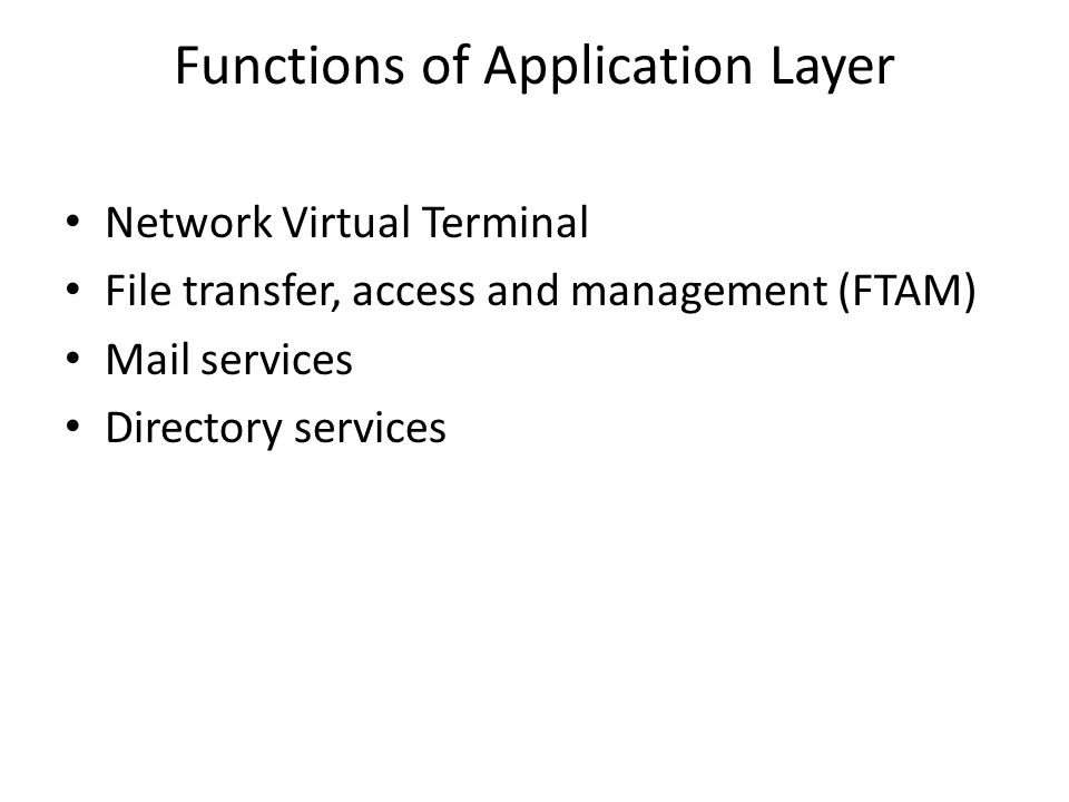 Functions of Application Layer Network Virtual Terminal File transfer, access and management (FTAM) Mail services Directory services