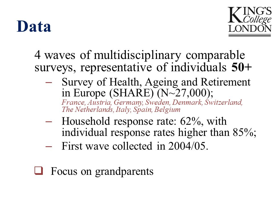 Data 4 waves of multidisciplinary comparable surveys, representative of individuals 50+ – Survey of Health, Ageing and Retirement in Europe (SHARE) (N~27,000); France, Austria, Germany, Sweden, Denmark, Switzerland, The Netherlands, Italy, Spain, Belgium – Household response rate: 62%, with individual response rates higher than 85%; – First wave collected in 2004/05.