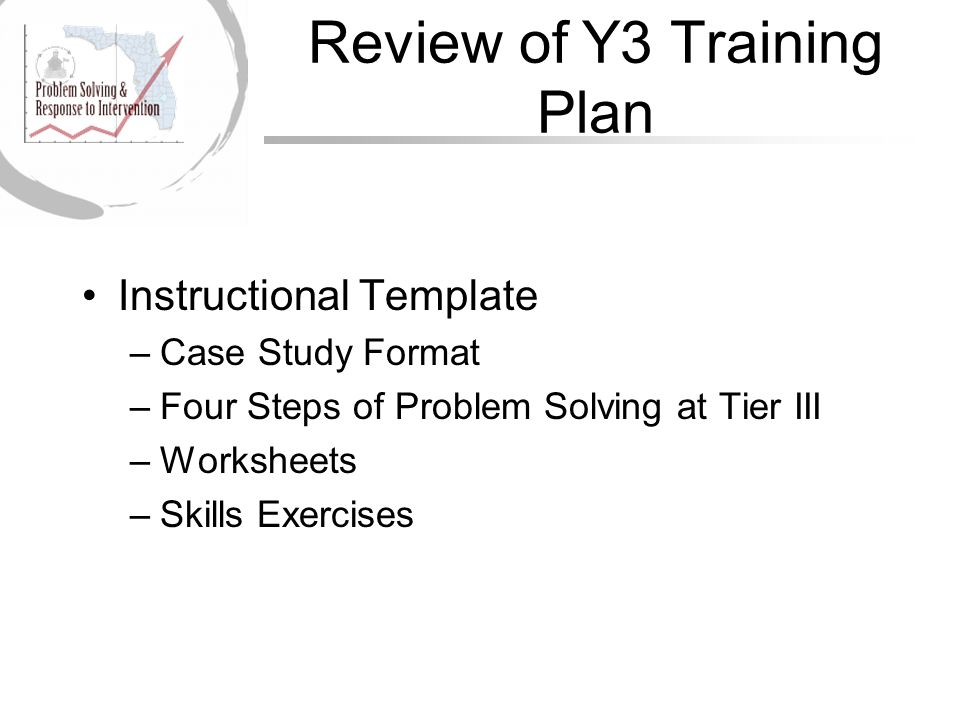 Review of Y3 Training Plan Instructional Template –Case Study Format –Four Steps of Problem Solving at Tier III –Worksheets –Skills Exercises