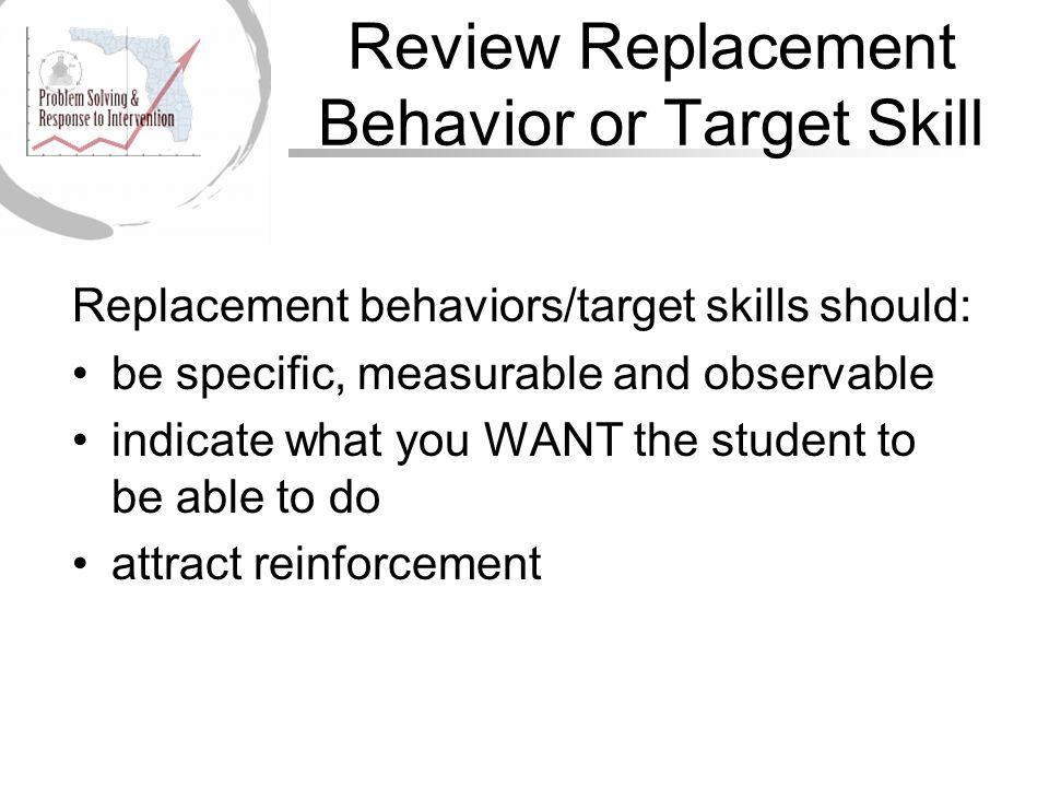 Review Replacement Behavior or Target Skill Replacement behaviors/target skills should: be specific, measurable and observable indicate what you WANT the student to be able to do attract reinforcement