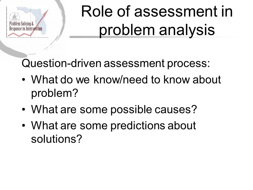 Role of assessment in problem analysis Question-driven assessment process: What do we know/need to know about problem.