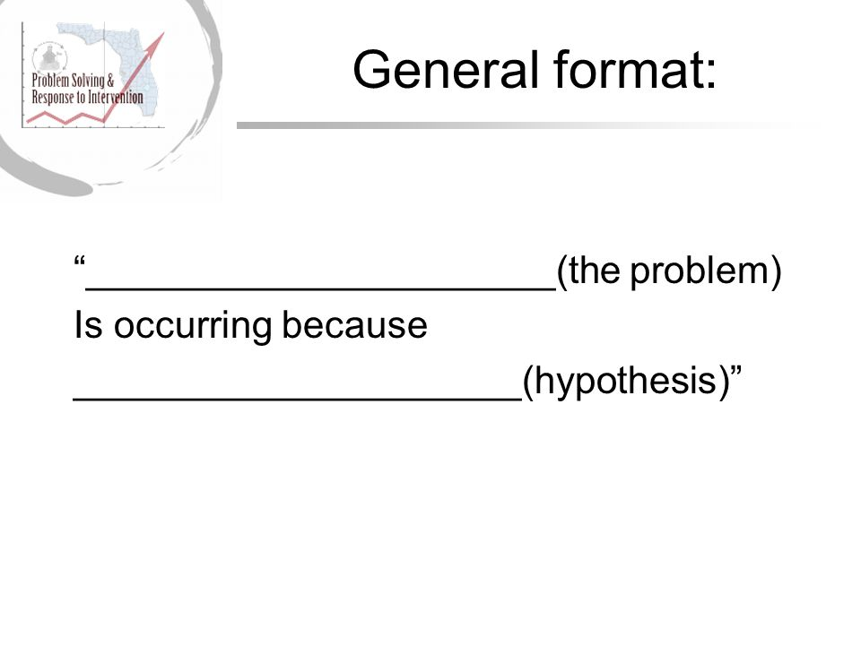 General format: ______________________(the problem) Is occurring because _____________________(hypothesis)